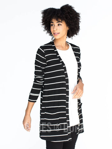 Agnes & Dora™ Favorite Cardi Black and White Stripe ONESIE SALE