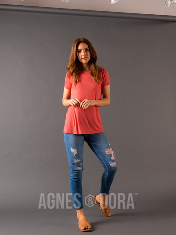 Agnes & Dora™ Fitted Tee Coral