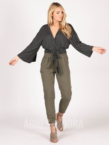 Agnes & Dora™ Kimono Tie Top Heather Charcoal