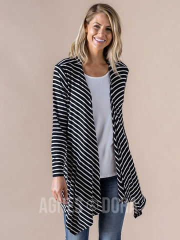 Agnes & Dora™ Waterfall Cardigan Black/Ivory Stripe