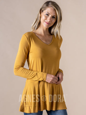 Agnes & Dora™ Fall In Line Tunic Dark Mustard