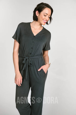 Agnes & Dora™ Belted Jumpsuit Black ONESIE SALE