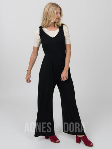 Agnes & Dora™ Tie Shoulder Jumpsuit Black