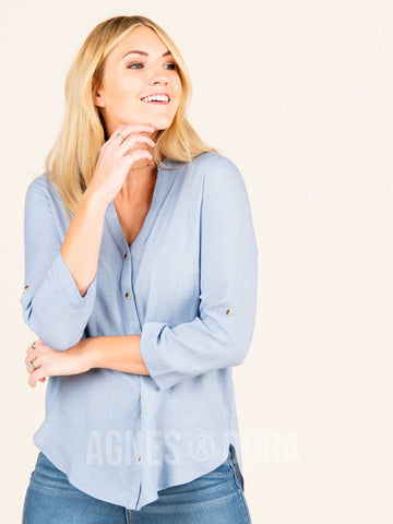 Agnes & Dora™ Mandarin Button Down Cool Blue  ONESIE SALE