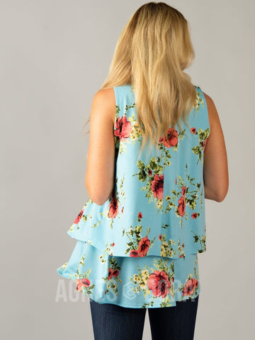 Agnes & Dora™ Tiered Tunic Tank Aqua/Rose/Yellow Floral
