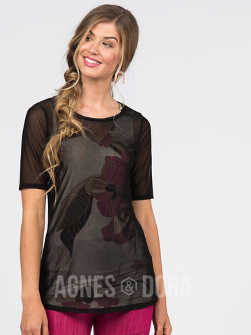 Agnes & Dora™ Fitted Tee Black Mesh
