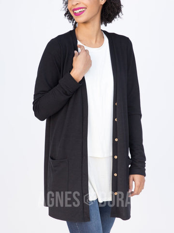 Agnes & Dora™ Essential Cardigan Black Solid ONESIE SALE