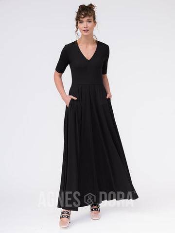 Agnes & Dora™ Essential Maxi Dress Black ONESIE SALE