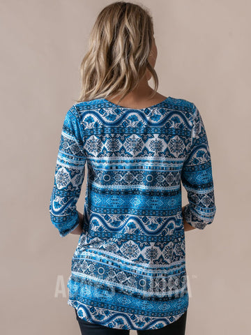 Agnes & Dora™  Everyday Tee Scoop Neck 3/4 Sleeve Blue Floral Boho Stripe ONESIE SALE
