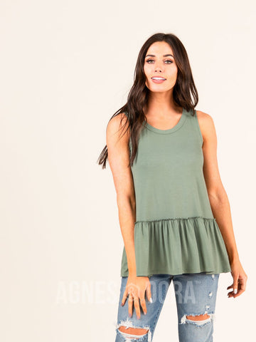 Agnes & Dora™ Relaxed Ruffle Tank DK Sage ONESIE SALE