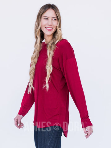 Agnes & Dora™ Easy Tee Long Sleeve Dark Red