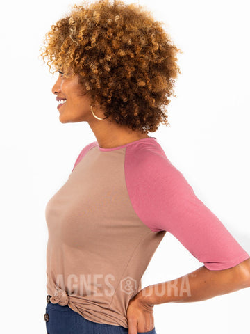 Agnes & Dora™ Raglan Top Mocha with Mauve