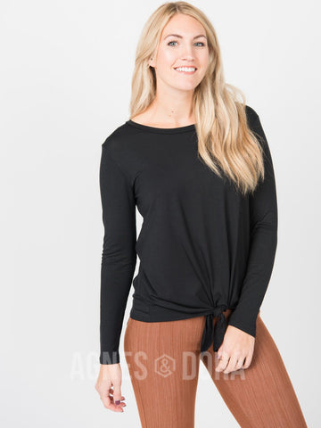 Agnes & Dora™ Tie Front Top Long Sleeve Black