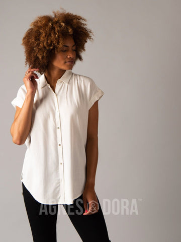 Agnes & Dora™ Button Down Cuff Sleeve White ONESIE SALE