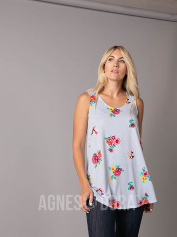 Agnes & Dora™ Essential Tank - Scoop Neck Denim Red Floral