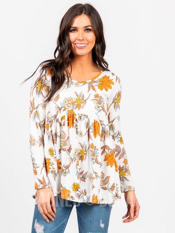 Agnes & Dora™ Muse Top Long Sleeve Ivory/Rust Floral