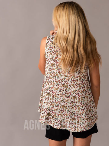 Agnes & Dora™ Sway Tank Ivory/Coral Floral