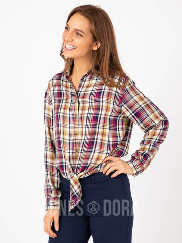 Agnes & Dora™ Button Down Tie Front Long Sleeve Classic Plaid - Small Scale ONESIE SALE