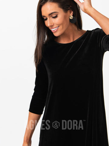 Agnes & Dora™ Velvet 3/4 Sleeve Swing Tunic Deep Black
