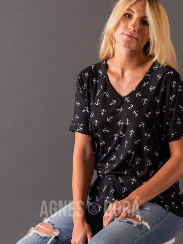 Agnes & Dora™ Love Top Black/White Anchor ONESIE