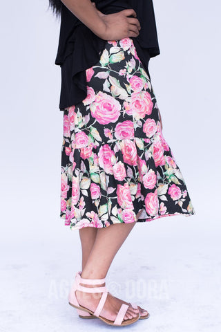 Agnes & Dora™ Boho Ruffle Midi Skirt Shades of Rose ONESIE SALE