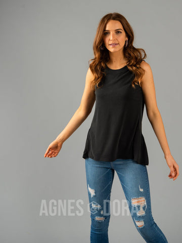 Agnes & Dora™ The Gathered Tank Black