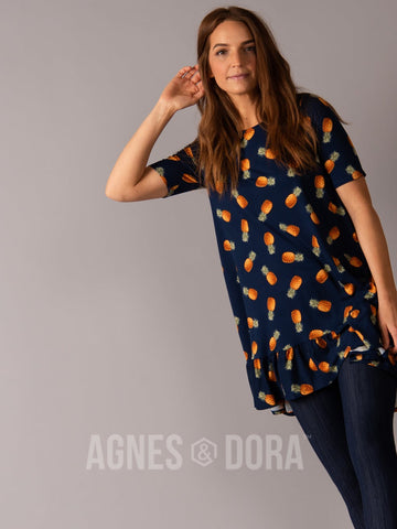 Agnes & Dora™ Ruffle Tunic Navy Pineapple