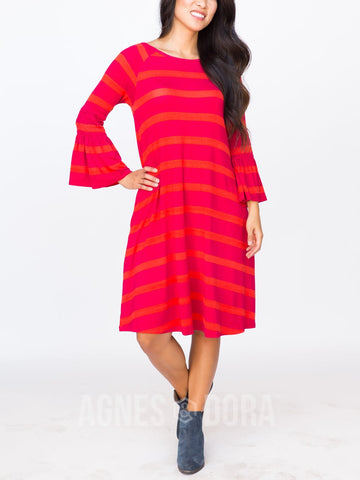 Agnes & Dora™ Bloom Dress Orange and Magenta Stripe ONESIE SALE