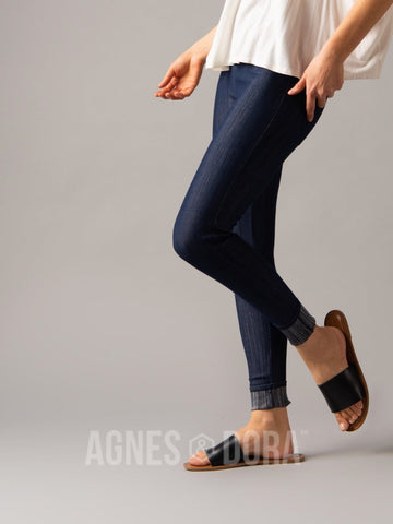 Agnes & Dora™ Knit Jeggings Dark Denim (reinforced elastic waistband)