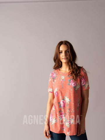 Agnes & Dora™ Swing Tee Orange 9 Floral  ONESIE SALE