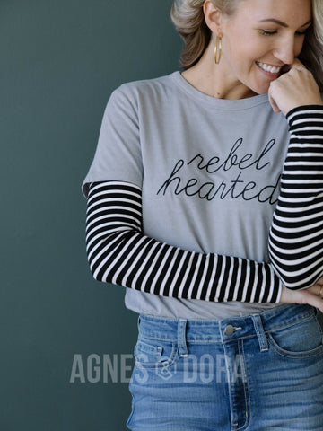 Agnes & Dora™ Graphic Tee Cement Rebel Hearted ONESIE SALE