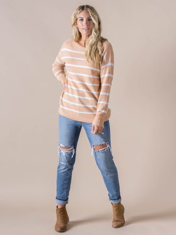 Agnes & Dora™ Boat Neck Sweater Sand Stripe