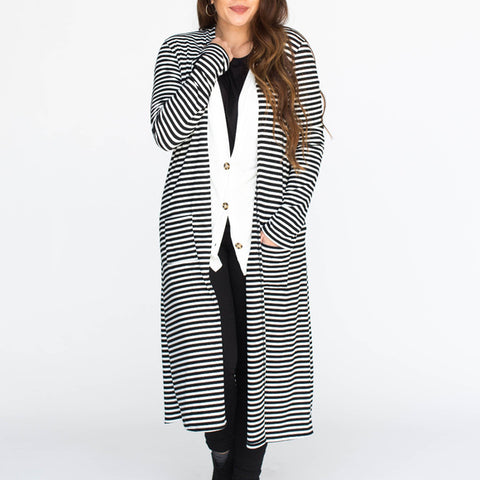 Agnes & Dora™ Duster Ribbed Black and Ivory Stripe ONESIE SALE