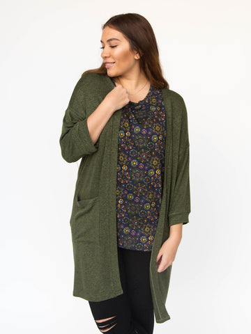 Agnes & Dora™ Forever Cardi Olive and Black Hacci ONESIE SALE