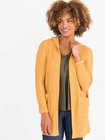 Copy of AGNES & DORA™ Hooded Cardi Mustard