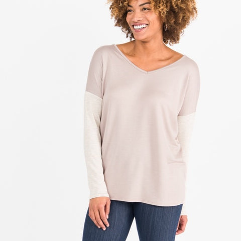 Agnes & Dora™ Double V-Neck Urban Pullover Mocha w Dusty Oatmeal ONESIE SALE