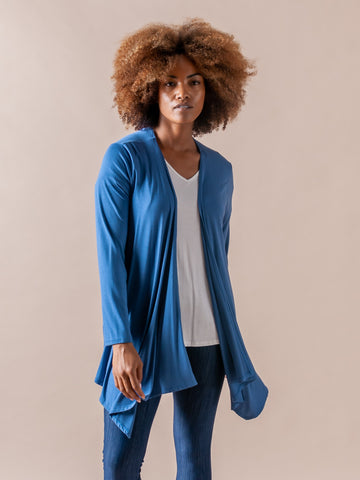 Agnes & Dora™ Waterfall Cardigan Denim Blue