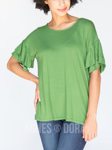 Agnes & Dora™ Frill Sleeve Top Tree Green  ONESIE SALE