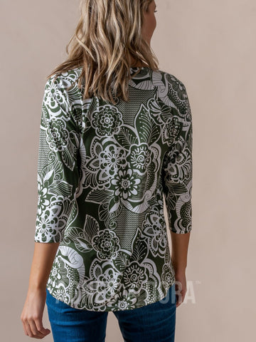 Agnes & Dora™ Love Top 3/4 Sleeve Retro Olive Floral