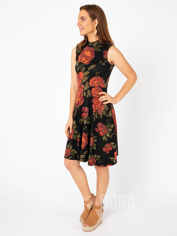 Agnes & Dora™ Fit & Flare Dress Mock Neck Perennial Rose - Sienna