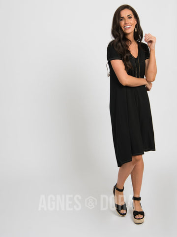 Agnes & Dora™ Hi-Lo Dress V-Neck Black ONESIE SALE