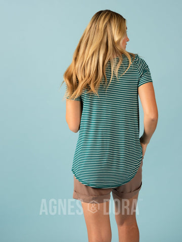 Agnes & Dora™ Everyday Tee - Scoop Neck Jade/Ivory Stripe