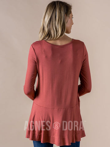 Agnes & Dora™ Fall In Line Tunic Marsala ONESIE SALE