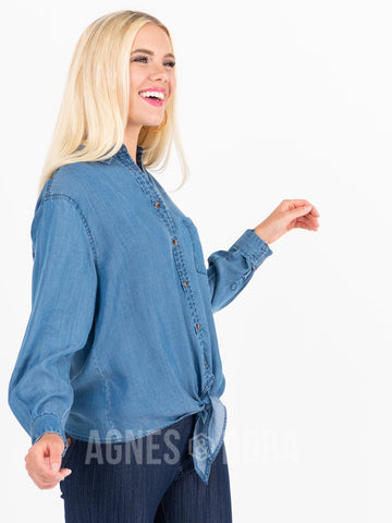 Agnes & Dora™ Button Down Tie Front Long Sleeve Medium Wash Tencel ONESIE