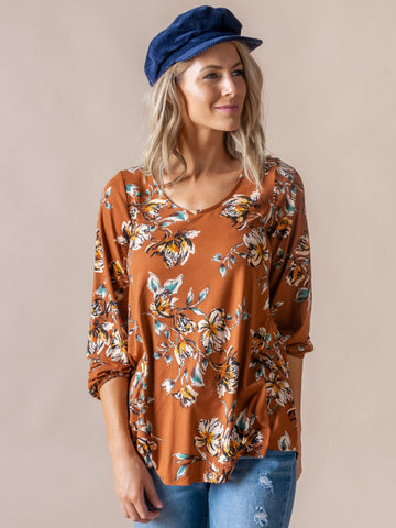 AGNES & DORA™ Everyday Balloon Sleeve Tee Rust Surf Spray Floral
