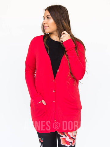 Agnes & Dora™ Favorite Cardi Modal True Red Solid