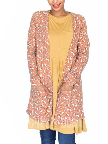 Agnes & Dora™ Essential Cardigan Berries and Blossoms Orange