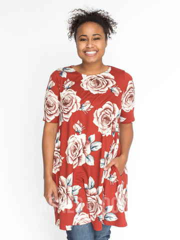 Agnes & Dora™ Swing Tunic Rust and Rose Floral