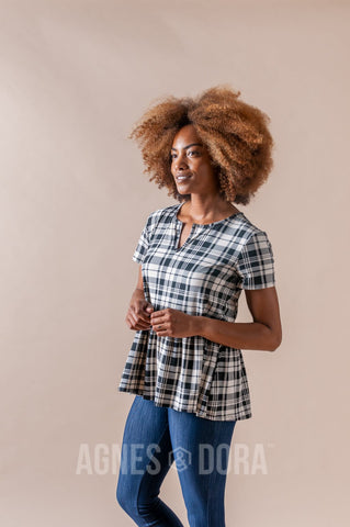 Agnes & Dora™ Notch Relaxed Ruffle Tee Black and Cream Plaid