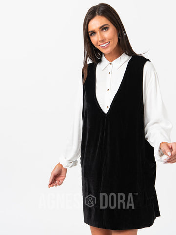 Agnes & Dora™ Limitless Jumper Dress Velvet Black